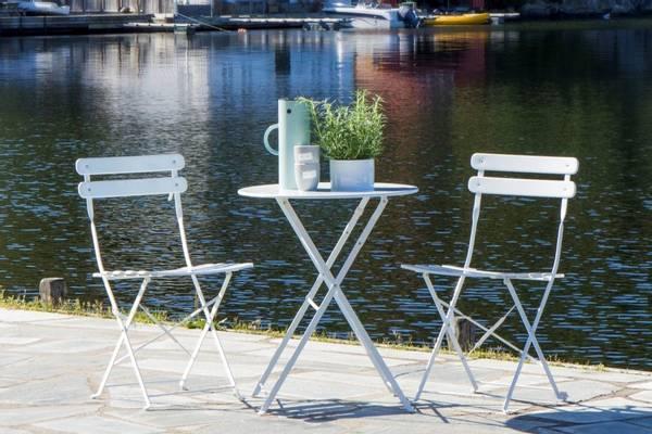 Bilde av Bica sammenleggbart kafesett 2 stoler+bord Ø60 cm - hvit