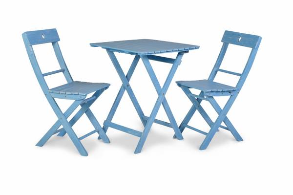Bilde av Åre sammenleggbart kafesett 2 stoler+bord 58x58 cm - greskblå