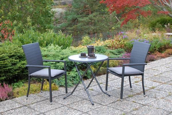 Bilde av Praha sett 2 stablestoler+bord Ø70 cm - tjæresort