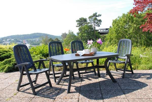Bilde av Nardi Salina sett 4 posisjonsstoler+bord 165x95 cm - antrasittgrå